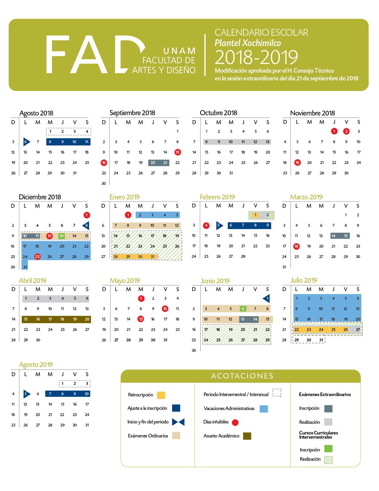 Calendario 2018 2019.Escolares Fad